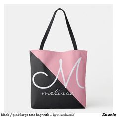 black / pink large tote bag with name Monogram Tote Bags, Pink Tote Bags, Reusable Tote Bags, Name Gifts, White Elephant Gifts, Large Tote, Gifts For Dad, Personalized Gifts, Black