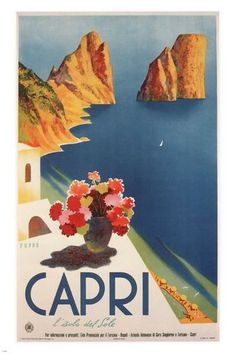 Capri VINTAGE TRAVEL POSTER Mario Puppo ITALY 1952 24X36 RARE prized