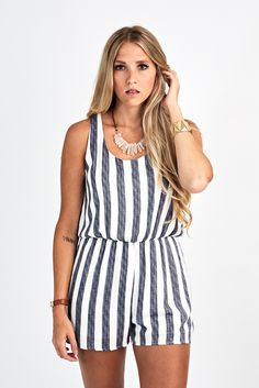 THE SEASIDE ROMPER- easy to throw on nautical striped romper- $68 #fabrikstyle http://ss1.us/a/m7AV0ALh
