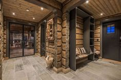 Our double french doors at Røroshytta at Oppdal. Modern Cabin Interior, Chalet Interior, Cabin Homes, Log Homes, Ski Lodge Decor, Sauna Design, Cabin Interiors, Wooden House, Winter House