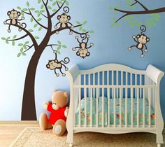 Sale Baby Nursery 5 Happy Monkeys  Swinging by wallvinyldesigns, $115.00