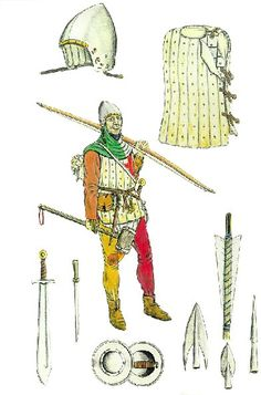 Archer and equipment. Medieval Archer, Medieval Art, Archery, Medieval Banner, Wars Of The Roses, Knight Armor, Arm Armor, Fantasy Armor, Medieval Clothing