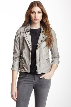 Studded Washed Leather Jacket by Bagatelle on @nordstrom_rack