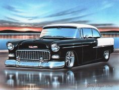 1955 chevy bel air 2 door hardtop art print for sale