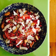 Breakfast Salad - Grapefruit, almonds, pomegranate seeds, hemp seed and coconut chips. | From @jessseinfeld on Instagram (24 Dec 2014), author of The Can't Cook Book