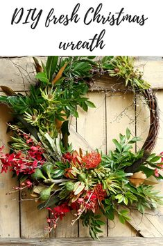DIY Fresh Christmas Wreath - The beauty of making your own Christmas wreath is that you& able to seamlessly tie it in wit - Christmas Lanterns, Christmas Flowers, Christmas Porch, Christmas Time, White Christmas, Christmas Crafts, Coastal Christmas, Aussie Christmas, Australian Christmas