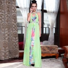 A line Jewel Empire Beaded Printed Evening Dress