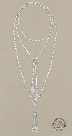 Inspiration for one of my current custom orders... A sketch from 'The Great Gatsby' collection! Tassel pendant of pearls accented in diamonds. Swoon! Image via Tiffany & Co.