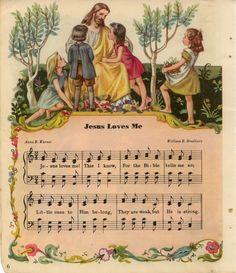 """""""Jesus Loves Me"""" Hymn sheet music. We sang this in Sunday School every single week."""