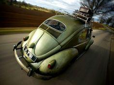 Green Metallic VW Beetle Oval Window Roof Rack