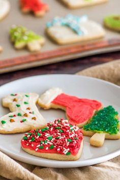 This Small Batch of Cut-out Sugar Cookies recipe doesn't require chilling, so between making, baking, and cooling time, you can be decorating them in about an hour.   #cookies   #sugarcookies   #ChristmasCookies  
