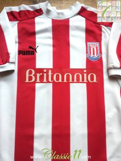 Relive Stoke City's season with this vintage Puma home football shirt. British Football, Stoke City, Football Kits, Red And White Stripes, Vintage Shirts, Colorful Shirts, Balls, How To Memorize Things