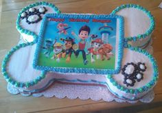 Paw Patrol dog bone cake! Paw Patrol Cake, Paw Patrol Party, Paw Patrol Birthday, Dog Bone Cake, 4th Birthday Parties, Birthday Cakes, Birthday Ideas, Baby Boy First Birthday, First Birthdays