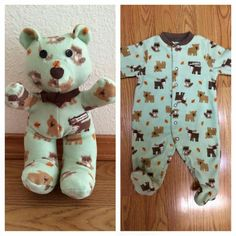 Custom Keepsake Bear made out of your little one's favorite sleeper, blanket, etc. Baby Sleepers, Everything Baby, Baby Kind, Baby Crafts, Baby Fever, Future Baby, Little Ones, New Baby Products, Baby Boy