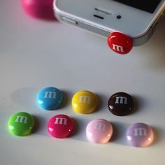 Kawaii M CANDY in 8 Colors Iphone Earphone Plug/Dust Plug - Cellphone Headphone Handmade Decorations.