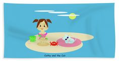 """Cathy And The Cat Have A New Friend Towel (Beach Towel (32"""" x 64"""")) by Laura Greco.  Our towels are great."""