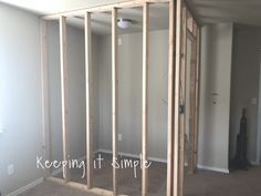 Have you been wanting to build a closet? Here are tips on how to build a closet to turn a room into a bedroom! I share things that I would do again and things I would do differently. Make A Closet, Closet Planning, Build A Wall, Basement Closet, Simple Bedroom, Making Room, Build A Closet, No Closet Solutions, Simple Closet