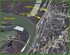 """Confluence of the Yazoo River and the Mississippi, in Vicksburg, MS, where """"Station"""" is the soon-to-be-open train museum."""