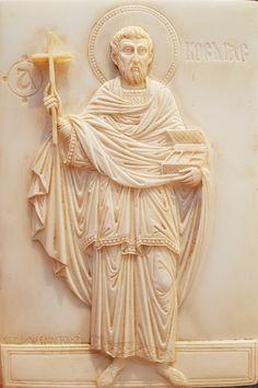 St Cosmos Holy Unmercenary  / Handmade relief carving by vangelis tsoubris St kosmas the anargiros