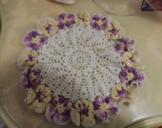 CROCHETED DOILY with PANSIES