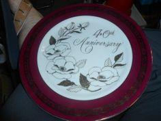 40th Anniversary Plate Wedding Bells Georgian Japan Burgundy White Floral | eBay