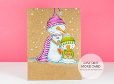 Card by Julia Altermann. Stamps by Purple Onion Designs. Colored with Polychromos pencils on Kraft. Snowmen: Luminance White+156,154. Purples: 194,134,135,119,199. Greens: 165,167,170,199. Noses:115,111,109. Arms: 180,280,177. Heart: 225,217,219,280.
