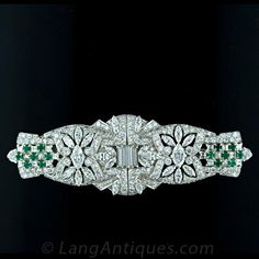 Art Deco Platinum Diamond and Emerald Clips  Main View