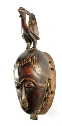 Africa | Mask from the Yaure people of the Ivory Coast | Wood; shiny patina