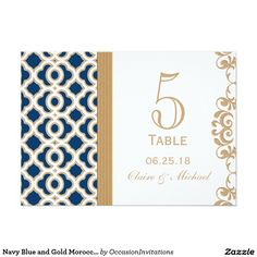 Navy Blue and Gold Moroccan Wedding Table Number 5x7 Paper Invitation Card