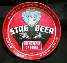 VINTAGE STAG BEER TRAY, PEOPLES BREWING COMPANY, DULUTH, MINNESOTA MN