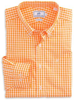 278597c3 Team Colors Gingham Sport Shirt in Rocky Top Orange by Southern Tide