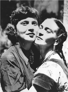 """Olga Campos (shown above with Frida), who first met Frida and Diego Rivera at Diego's birthday party in 1947. Campos soon became close friends with the Riveras. Campos was then a psychology student working on """"a book that would explore the relationship between emotion, color, and line"""" and was performing interviews and psychological tests on artists to gather material. Kahlo agreed to be interviewed and tested over many months in 1949 and 1950."""