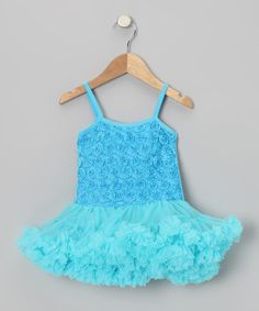 Take a look at this Turquoise Rosette Ruffle Dress - Toddler on zulily today!
