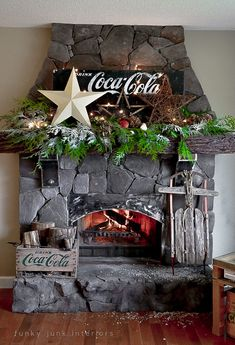 Coca Cola inspired Christmas fireplace mantel decorating with stars - via Funky Junk Interiors, Coke Christmas 2013 Coca Cola Christmas, Noel Christmas, All Things Christmas, Xmas, Christmas Ideas, Outdoor Christmas, Country Christmas, Christmas Inspiration, Christmas Recipes