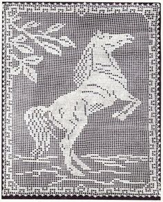 Bee Honeycomb Tablecloth Crochet Pattern, Horse Filet and more - Elizabeth Hiddleson Volume Horse Filet Crochet Pattern Crochet Curtains, Crochet Tablecloth, Crochet Doilies, Tablecloth Ideas, Crochet Appliques, Doily Patterns, Cross Stitch Patterns, Crochet Patterns, Afghan Patterns
