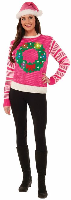Pink Light-Up Wreath Women's Ugly Christmas Sweater