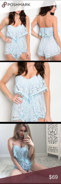 Spring Lace Romper 65% cotton, 35% polyester. Gorgeous light blue crochet romper❤️ Pants Jumpsuits & Rompers