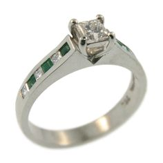18ct White Gold Princess Cut Diamond and Emerald Ring. Handmade at Cameron Jewellery