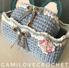 Cestas /ganchillos & tejidos Crochet Quilt Pattern, Tapestry Crochet Patterns, Crochet Basket Pattern, Crochet Fabric, Diy Crochet Basket, Crochet Bowl, Knit Basket, Fast Crochet, Love Crochet