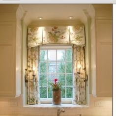 kitchen window treatment valance and drapery panels (instead of long panels, a cafe curtain at half) Kitchen Window Treatments, Window Decor, Curtains, Window Design, Windows, House, French Country Kitchens, Kitchen Window, Custom Window Treatments