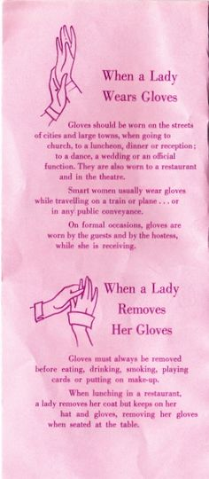 Old school glove etiquette.