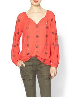 THML Clothing Diamond Embroidered Long Sleeve Top | Piperlime