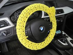 Crochet Steering Wheel Cover with a Flower - bright yellow