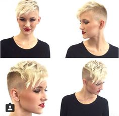 Blond shaved pixie cut