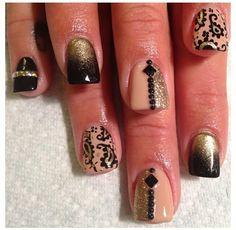 Black Nude and gold nail art