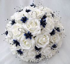 Navy Blue Wedding Bouquets | ... FLOWERS - BRIDES WITH 4 BRIDESMAIDS POSY BOUQUETS IN IVORY  NAVY BLUE