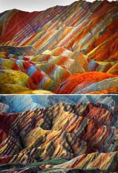 10 of the most psychedelic looking places that really exist.  Including Danxia Landform Geological Park (China)  http://www.oddee.com/item_98876.aspx?utm_source=Oddee&utm_campaign=8104729a7a-RSS_ARTICLE_OF_THE_DAY&utm_medium=email&utm_term=0_a52606686c-8104729a7a-60505293