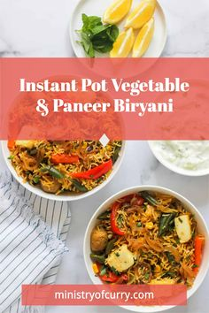 Vegetable and Paneer Biryani is a complete meal with grains, vegetables, and protein. Cooked to perfection in the Instant Pot! #ministryofcurry #instantpot #indianfood Veggie Recipes Healthy, Vegetarian Recipes Videos, Healthy Indian Recipes, Curry Recipes, Easy Chicken Recipes, Instant Pot Dinner Recipes, Delicious Dinner Recipes, Vegetarian Main Dishes, Vegetarian Meals