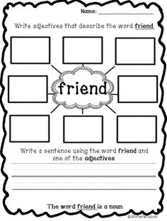 FREEBIE Get some noun and adjective practice. You can adapt this for younger learners and have them draw and explain drawings. Elementary School Counseling, School Counselor, Elementary Schools, Friendship Lessons, Friendship Activities, Friendship Art, Adjectives Activities, Nouns And Adjectives, Social Emotional Learning