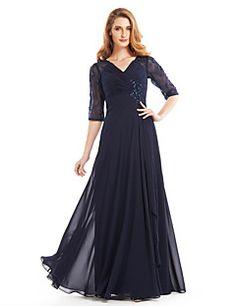 Lanting Bride® Corte en A Vestido de Madrina Hasta el Suelo Media Manga Raso - Cuentas / En Cruz